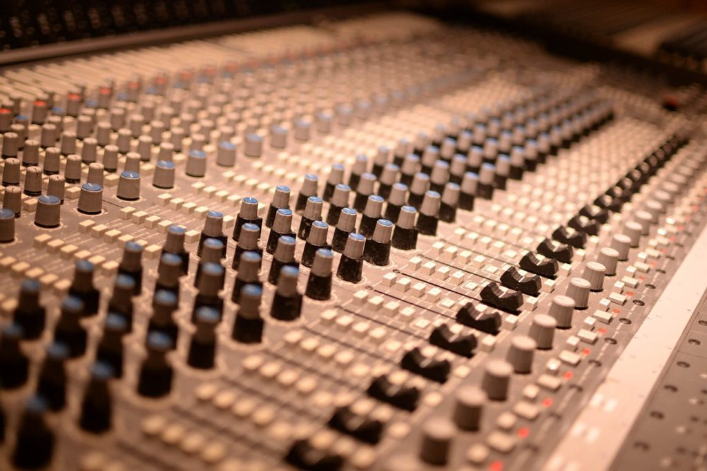 Audio Mixer with Faders and Knobs
