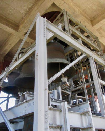 Bells in a large metal frame